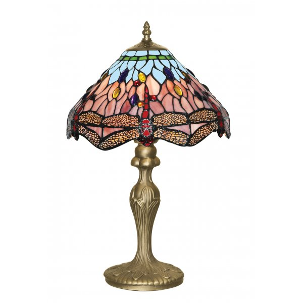 Searchlight1287 dragonfly 1 light tiffany table lamp for 100 watt table lamps uk