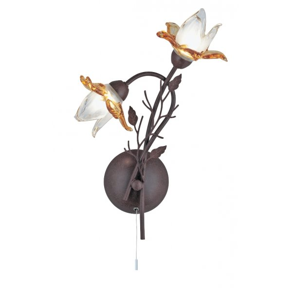 Rustic Brown Wall Lights : Searchlight 1532-2BR Orchid 2 Light Rustic Brown Wall Light