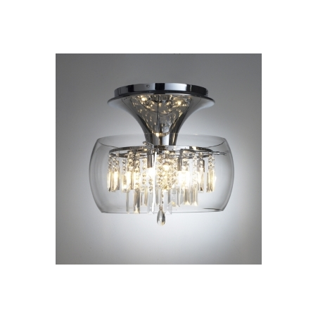 Loc508 loco 6 light modern ceiling light flush crystal and polished chrome finish