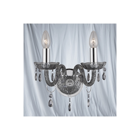 Searchlight 8692-2GY | Marie Therese 2 Light Smoked Grey Wall Light:Searchlight 8692-2GY Marie Therese 2 Light Wall Light Smoked Grey,Lighting