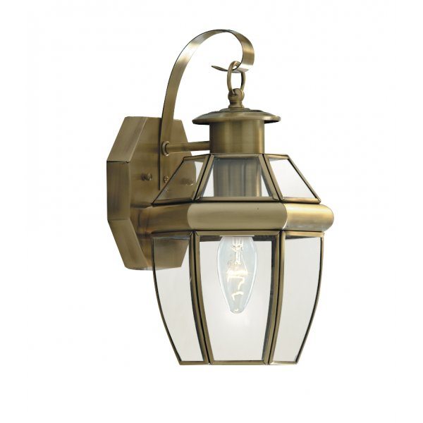 Searchlight 8067AB 1 Light Traditional Outdoor Wall Light Antique Brass