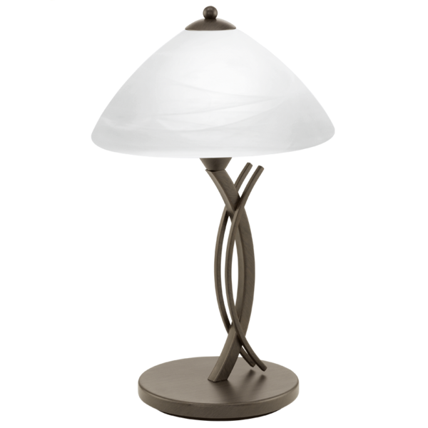 91435 Vinovo 1 Table Lamp Light Dark Brown Steel U0026amp; White Alabaster Glass