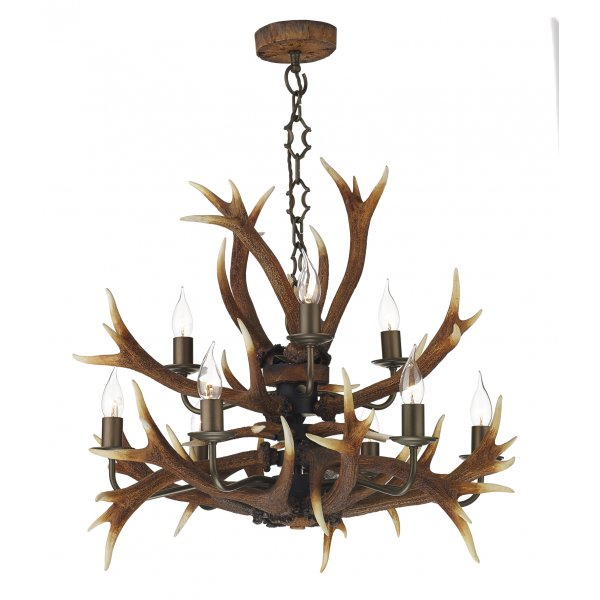 David hunt antler ceiling light david hunt 9 light ceiling light ant1329 antler 9 light ceiling pendant light brown mozeypictures Choice Image