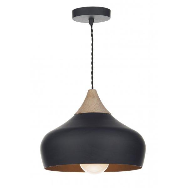GAU Gaucho Pendant Dar Matt Black Ceiling Light Wood Detail - Ceiling lights for bedrooms uk