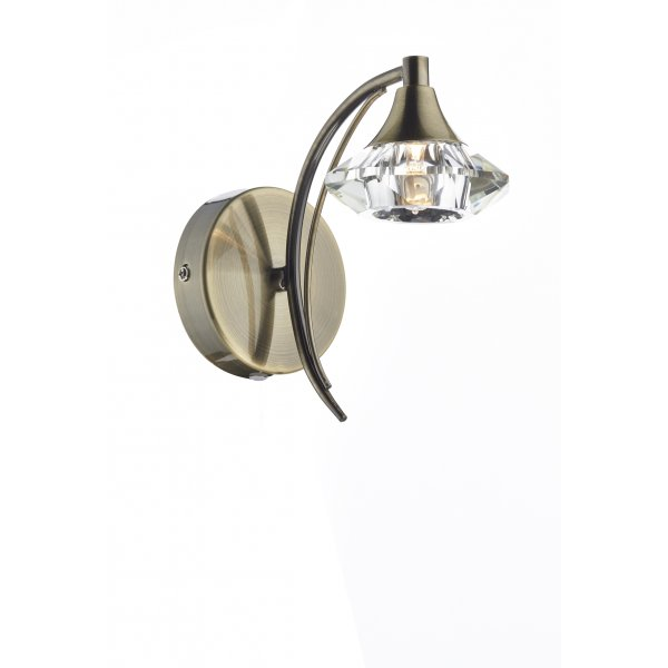 LUT0775 Luther Crystal 1 Light Wall Light Dar Antique Brass Light