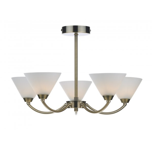 Dar HEN0575 Henley 5 Light Ceiling Light Antique Brass