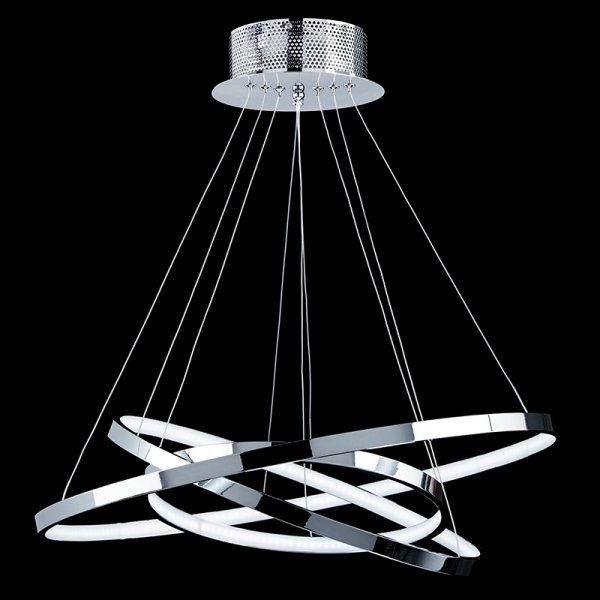 Urban Industrial Double Ring Chandelier: Polished Chrome Ceiling