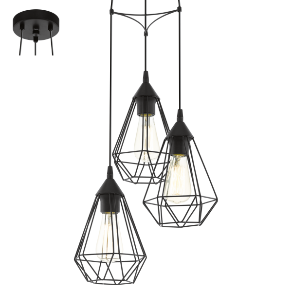Eglo 94191 Tarbes 3 Light Ceiling Pendant Black