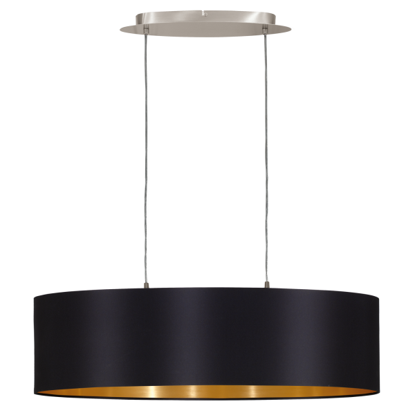 This is a 2 light pendant with glossy black fabric shade and gold inner 31611 maserlo 2 light pendant glossy black aloadofball Image collections