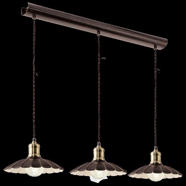 Eglo 49463 hemington 3 light large ceiling pendant black gold - Suspension plusieurs lampes ...