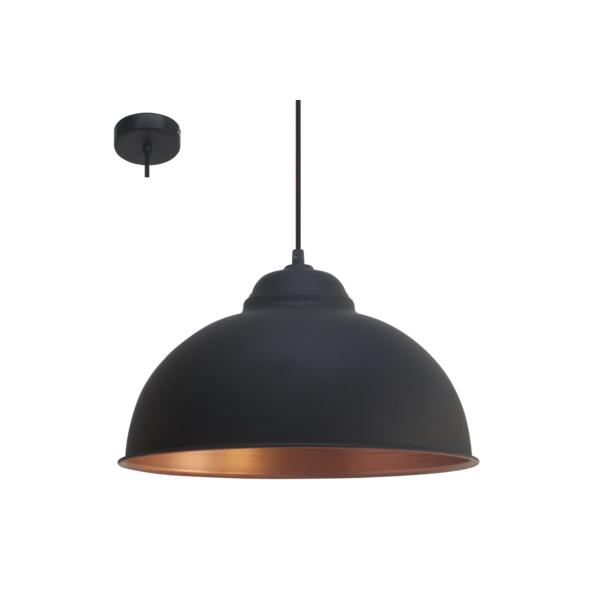Copper Pendant Wall Lights : Eglo 49247 Truro2 1 Light Ceiling Pendant Black/Copper