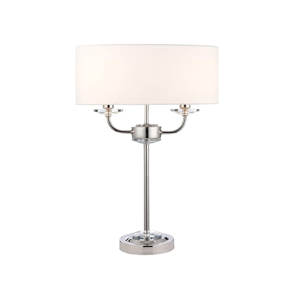 Endon 60804 nixon 2 light table lamp polished nickel 60804 nixon 2 light table lamp polished nickel mozeypictures Choice Image