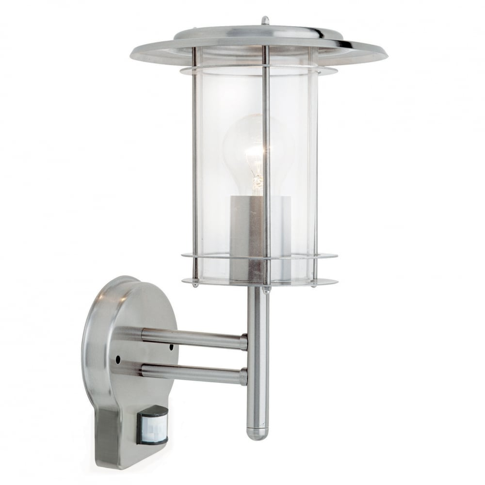 Wall Lights York: Saxby Outdoor Polished Steel Wall Light With PIR