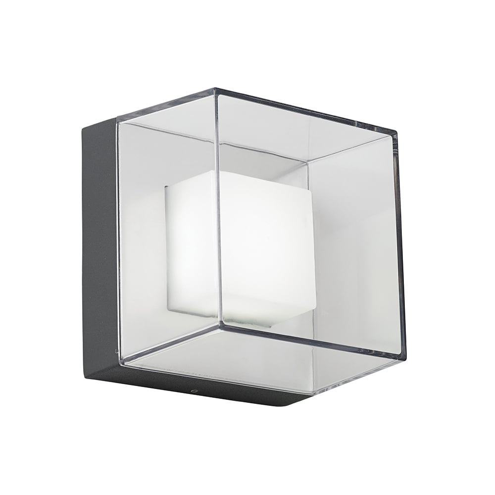 endon endon el 40101 cube outdoor led wall light ip54 grey
