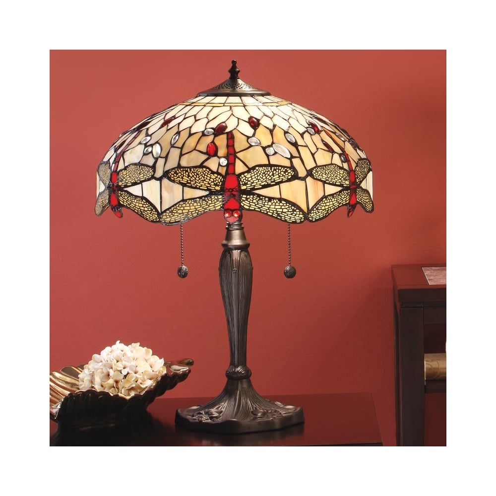 Interiors 1900 dragonfly tiffany table lamp beige 64085 beige dragonfly 2 light large tiffany table lamp aloadofball Image collections