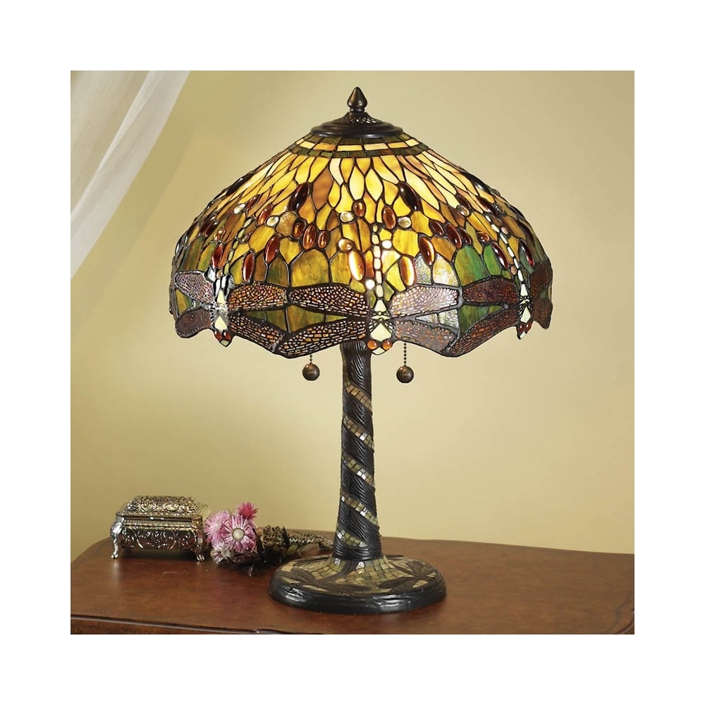 Interiors 1900 dragonfly tiffany table lamp green 64095 green dragonfly 2 light large tiffany table lamp aloadofball Image collections