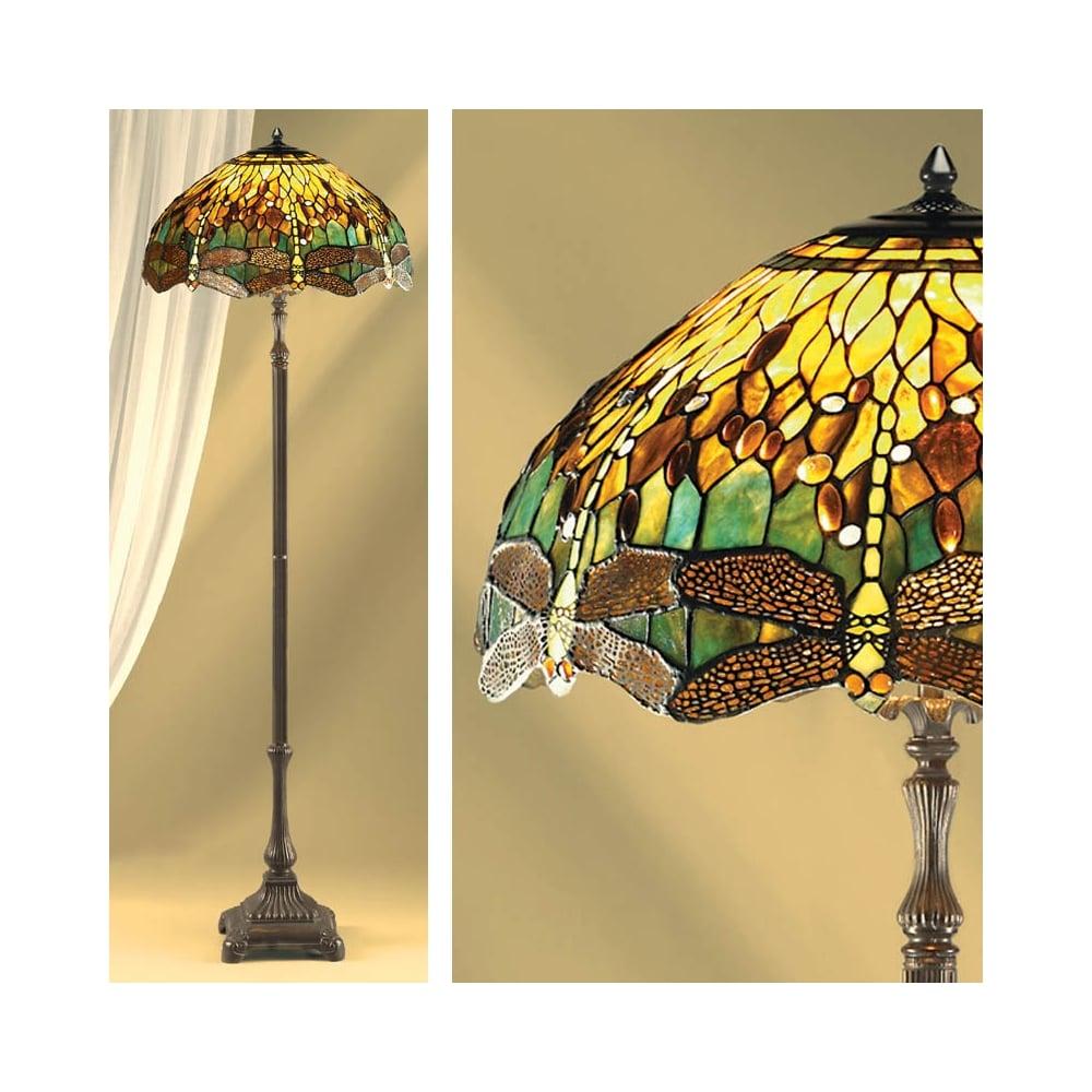 Interiors 1900 Dragonfly Tiffany Floor Lamp Green