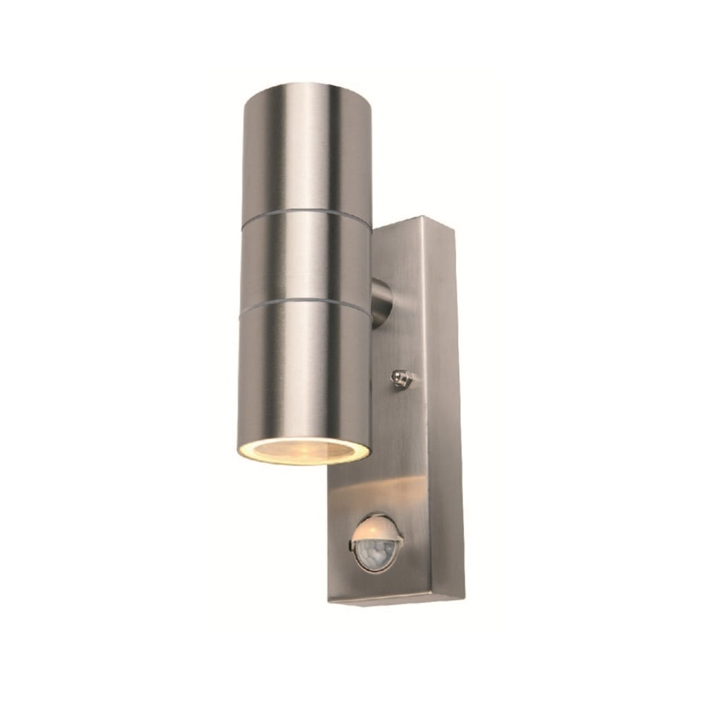 Power master s8163 2 light stianless steel pir outdoor wall light s8163 modern 2 light pir outdoor wall light stainless steel ip44 aloadofball Choice Image