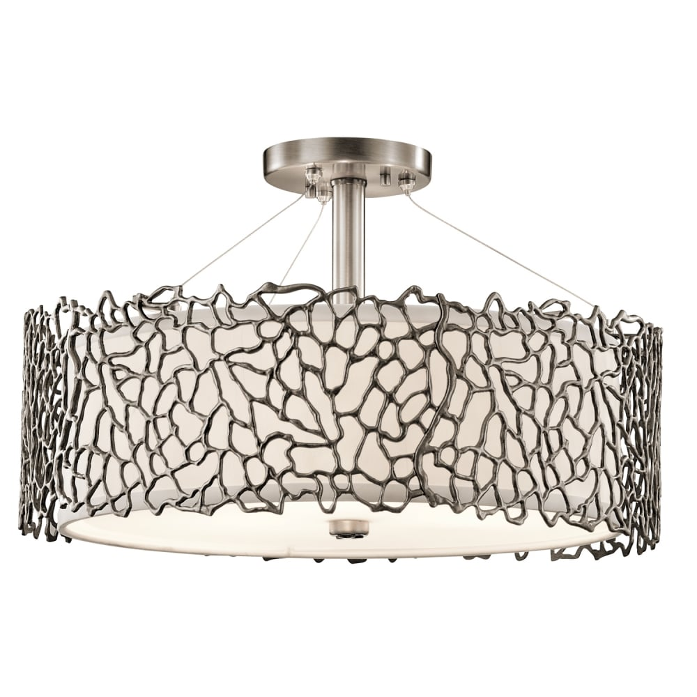 Kichler silver coral duo mount pewter ceiling pendant kichler klsilcoralpa silver coral 3 light duo mount ceiling aloadofball Gallery