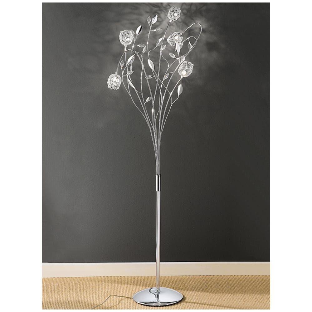 Chrome and Crystal Glass Floor Lamp