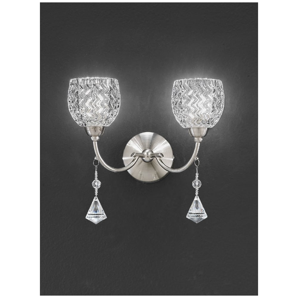 Crystal Wall Lights Switched : Franklite Sherrie Satin Nickel Twin Wall Light