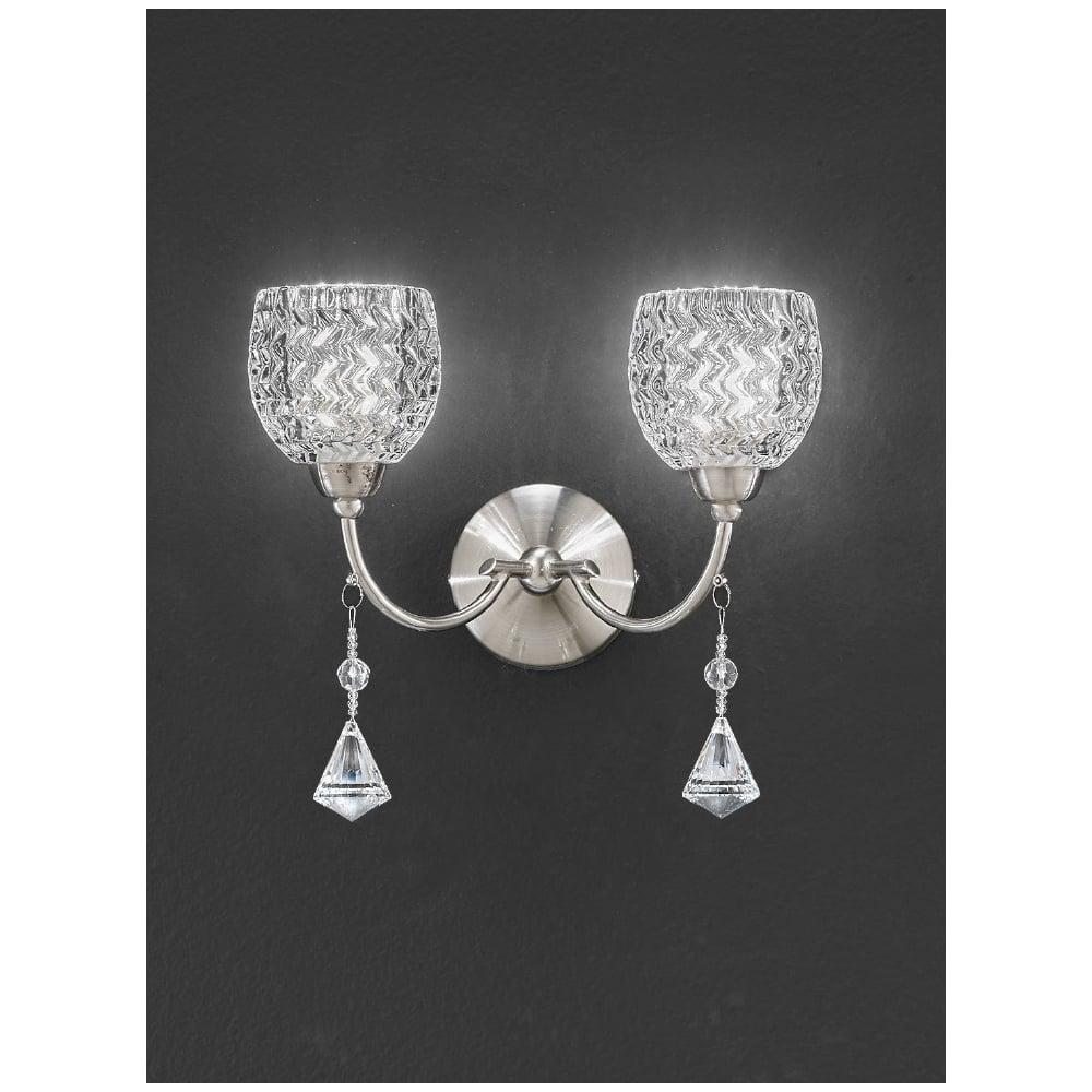 Franklite Sherrie Satin Nickel Twin Wall Light