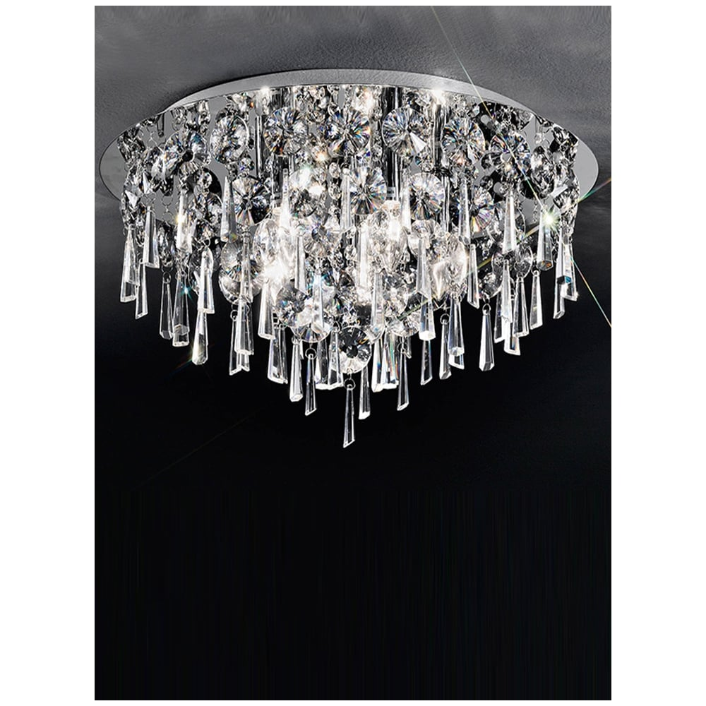 CF5717 Jazzy 5 Light Crystal Semi Flush Ceiling Polished Chrome