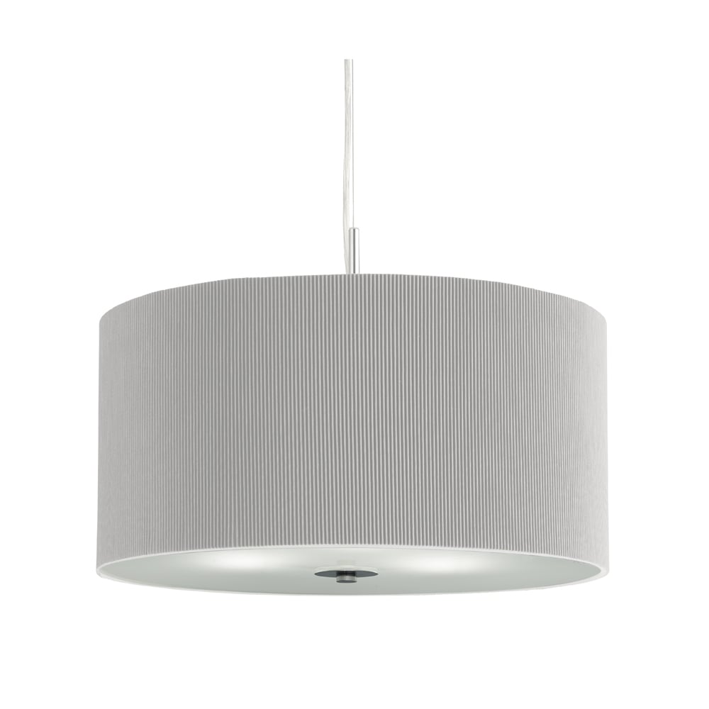 Fabric pendant lights 2353 40si drum pleat 3 light ceiling pendant silver grey mozeypictures Images