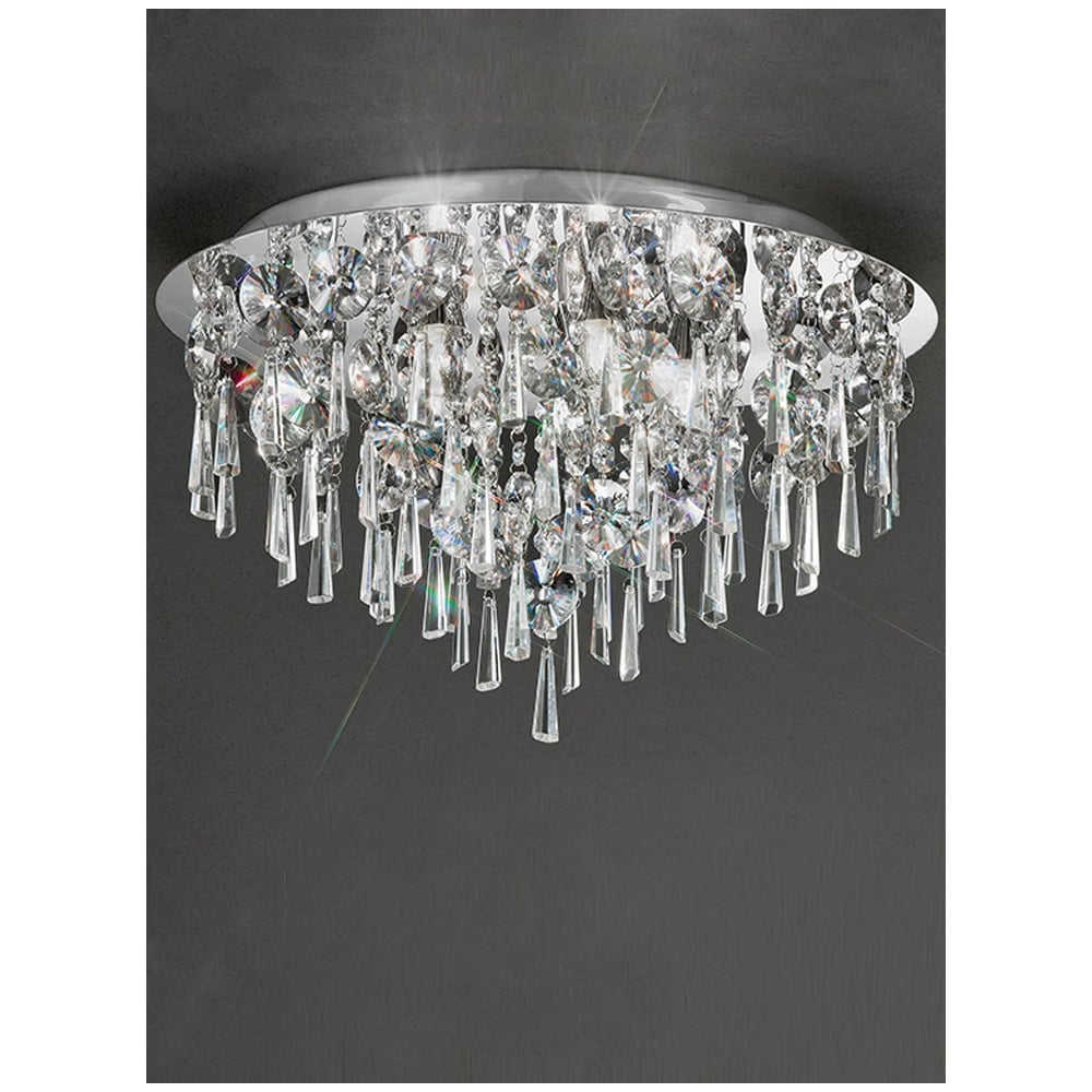 Franklite jazzy crystal chrome semi flush bathroom ceiling for Crystal lights for bathroom