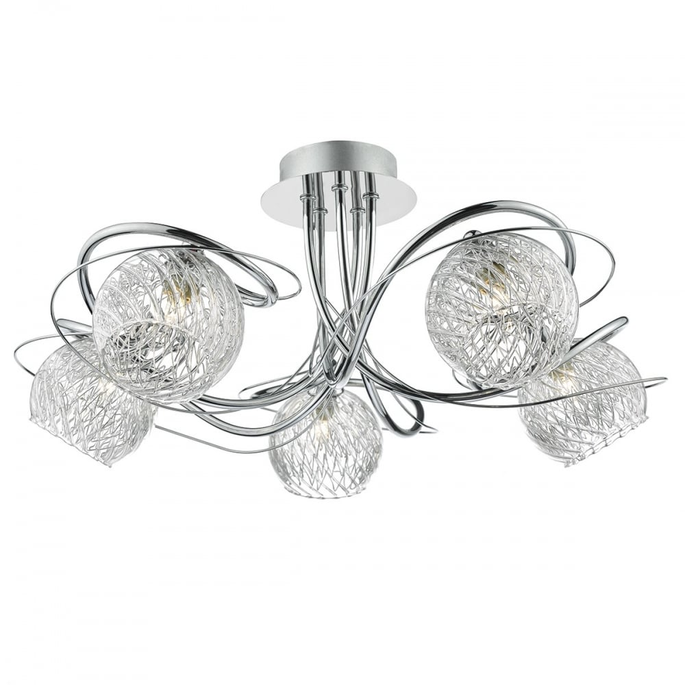 Rehan reh0550 dar 5 light semi flush ceiling light in polished chrome reh0550 rehan 5 light semi flush ceiling light polished chrome aloadofball Images