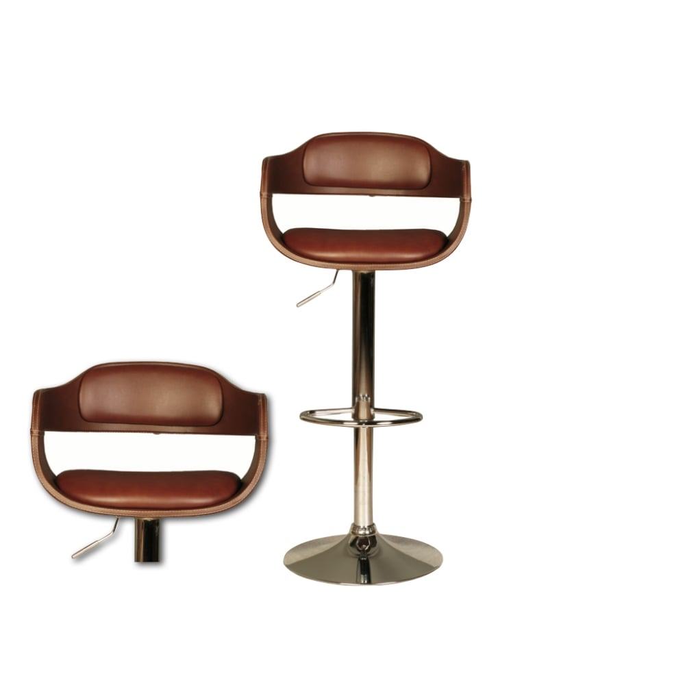 Anna Brown Faux Leather Bar Stool