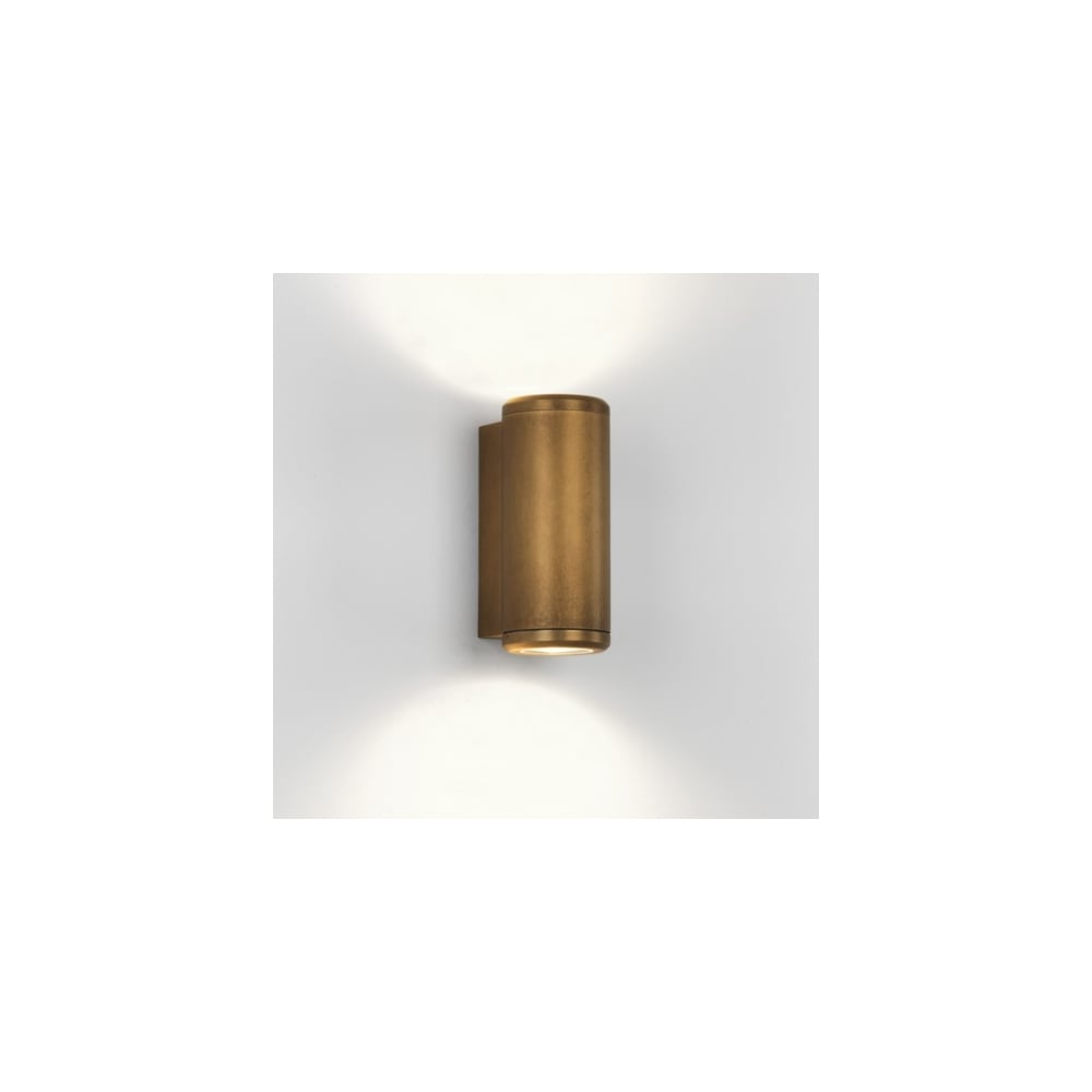 Astro jura coastal 7809 wall light 7809 jura coastal ip44 twin wall light antique brass aloadofball Gallery