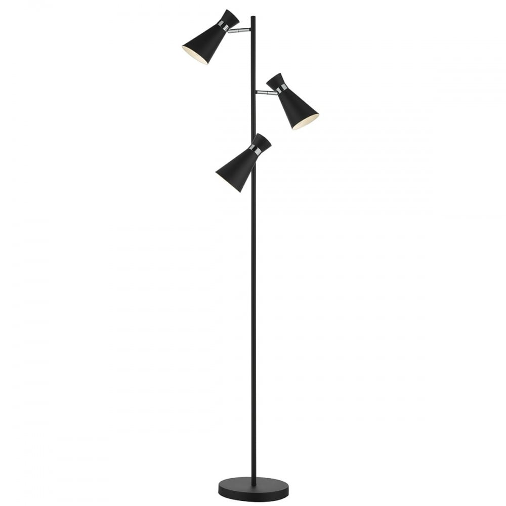 Dar Ashworth Ash4922 Matt Black 3 Light Adjustable Floor Lamp