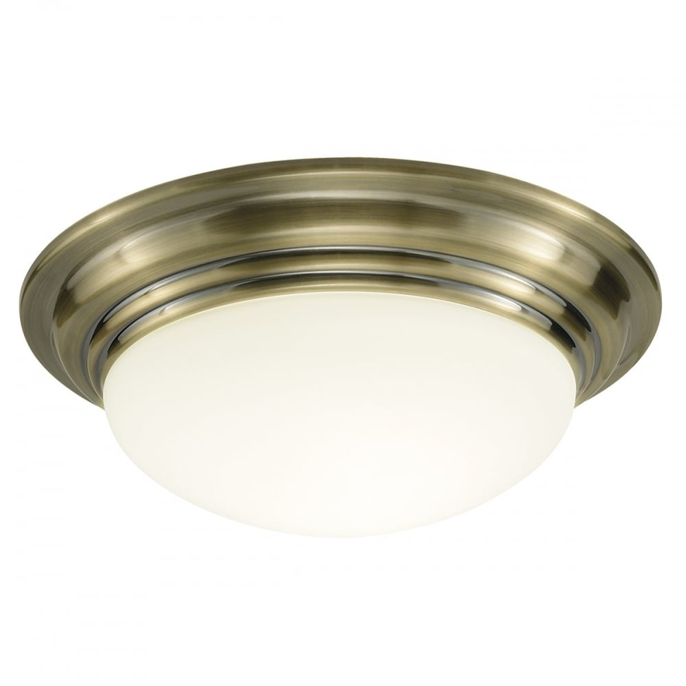 Dar BAR5075 Barclay 1 Light Modern Bathroom Ceiling Light Flush Antique Brass