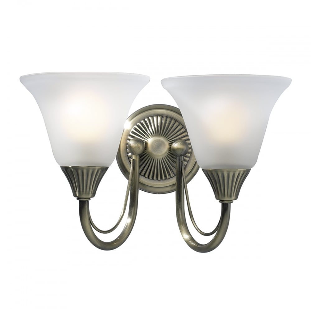Dar BOS09 Boston 2 Light Switched Traditional Wall Light Antique Brass Finish Complete With Acid ...