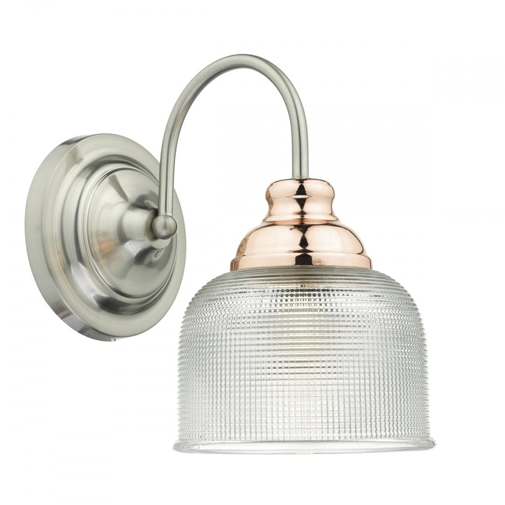 Wharfdale Satin Chrome Copper 1 Light Wall Light