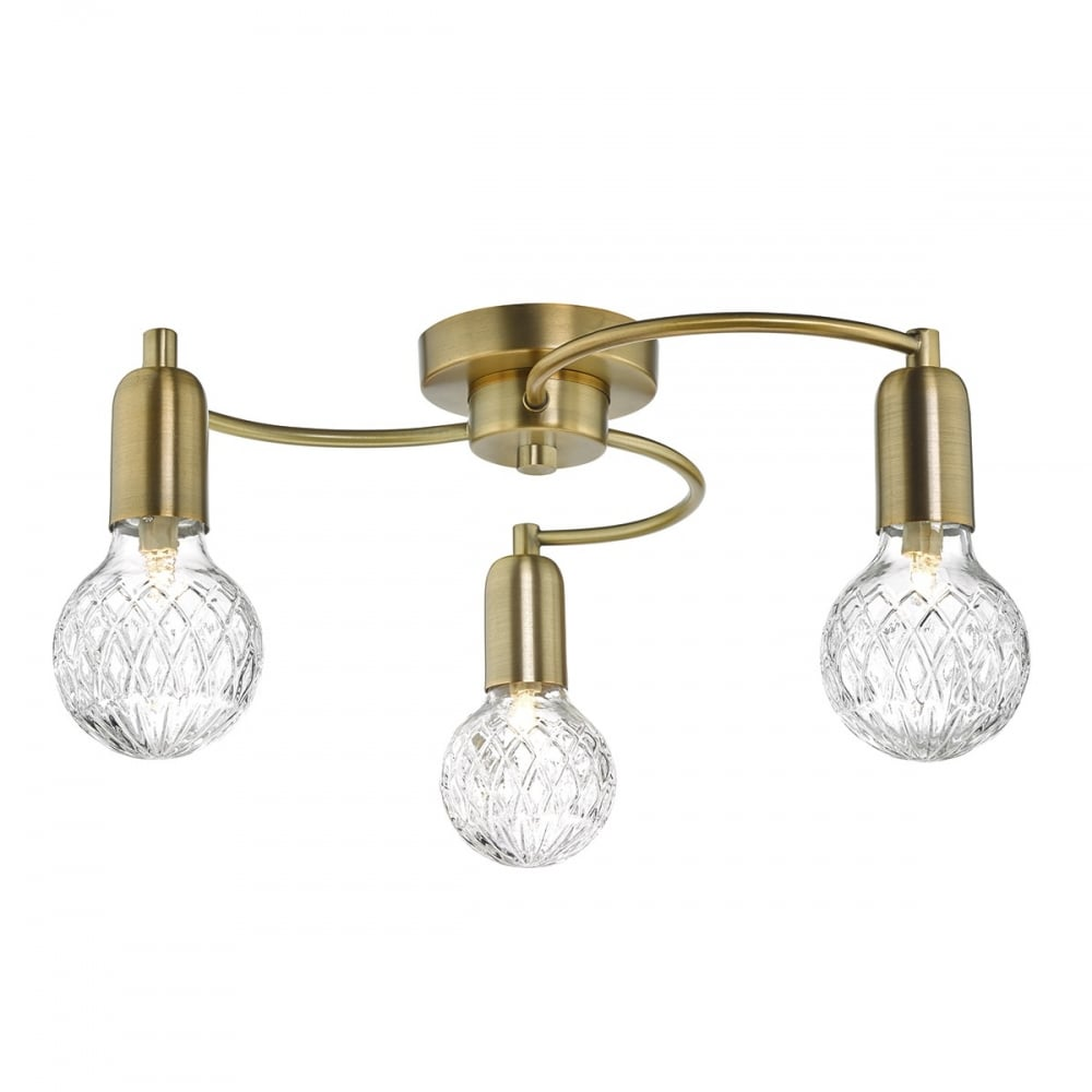 Brass Chandelier Ceiling Lights : Wrexham light antique brass semi flush ceiling