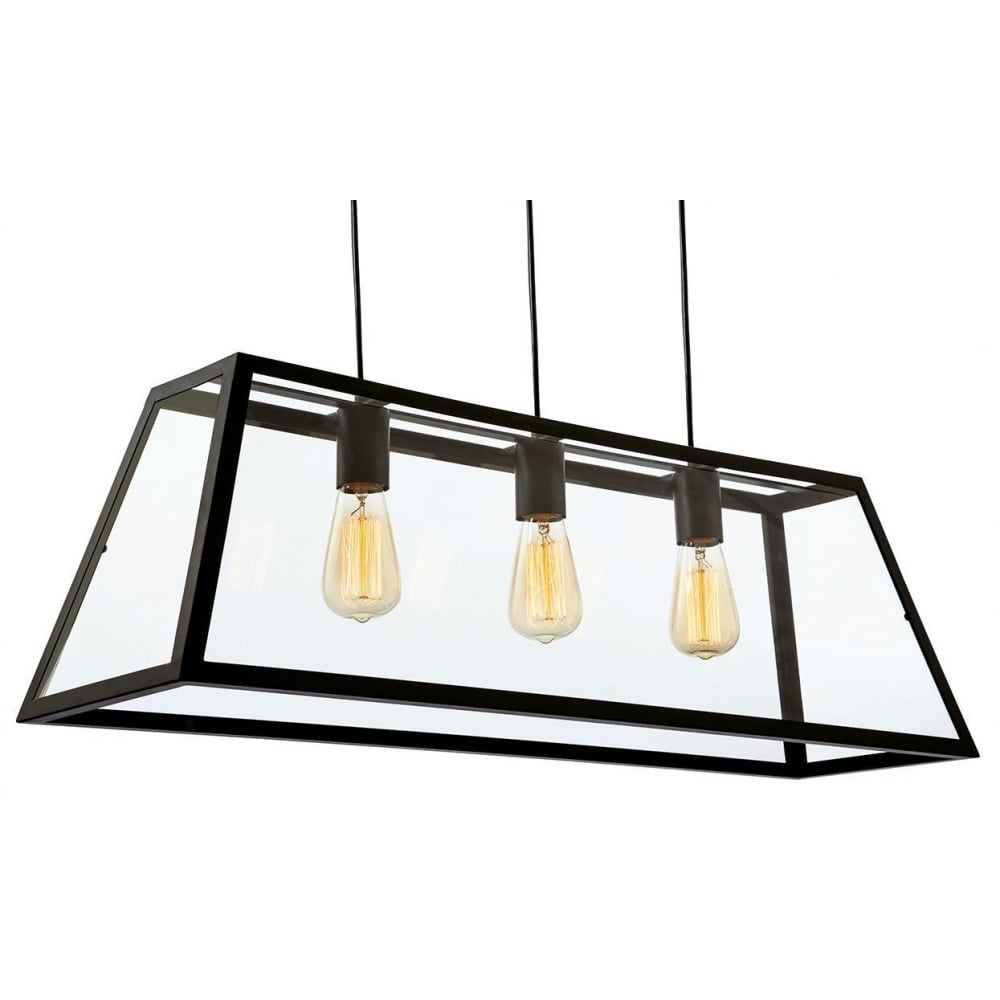 Kew 3438BK Black 3 Light Ceiling Pendant