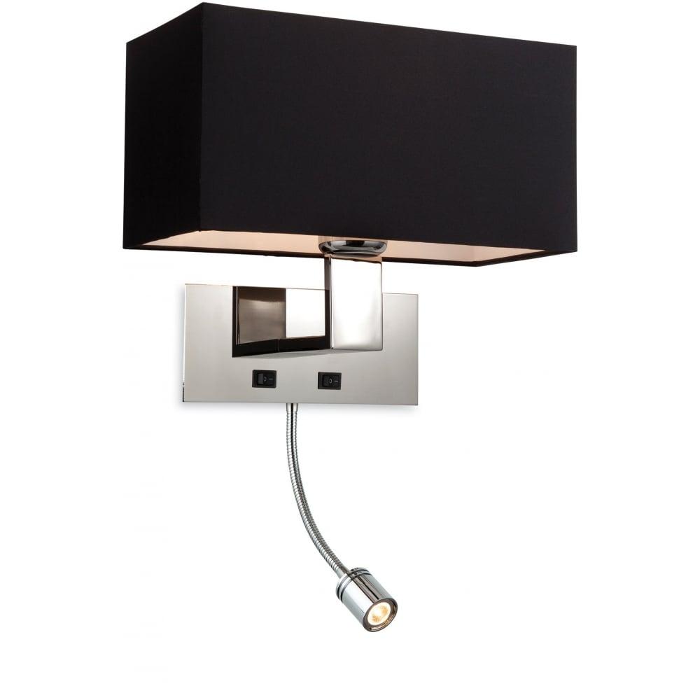 Price 2 light switched wall light 8608bk - Applique murale avec liseuse led ...
