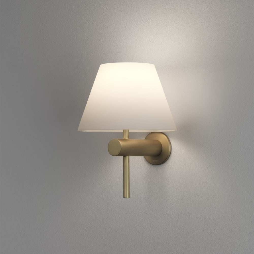 Astro roma ip44 bathroom wall light in matt gold for Gold bathroom wall lights