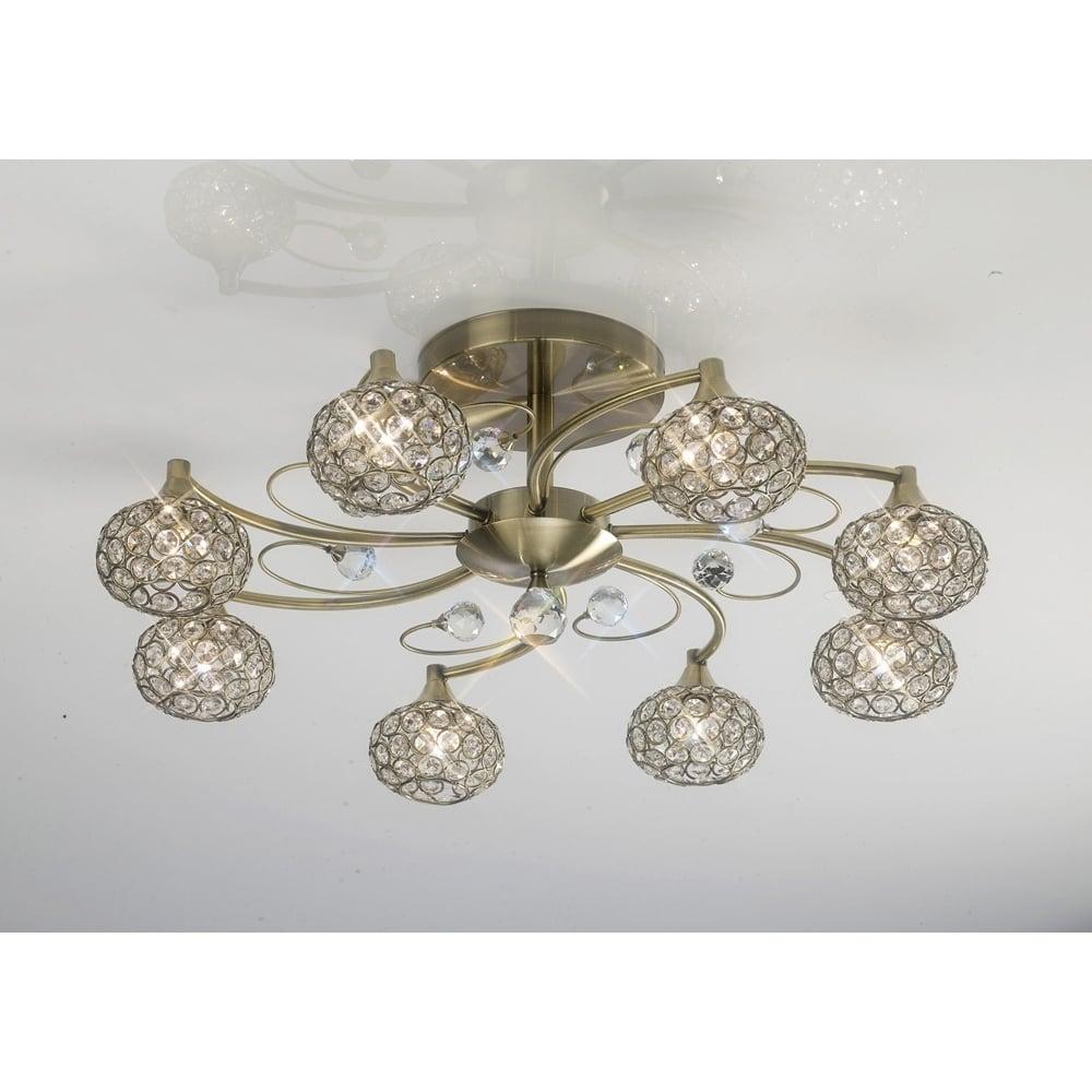 Diyas Cara Crystal Semi Flush Ceiling Light In Antique Brass