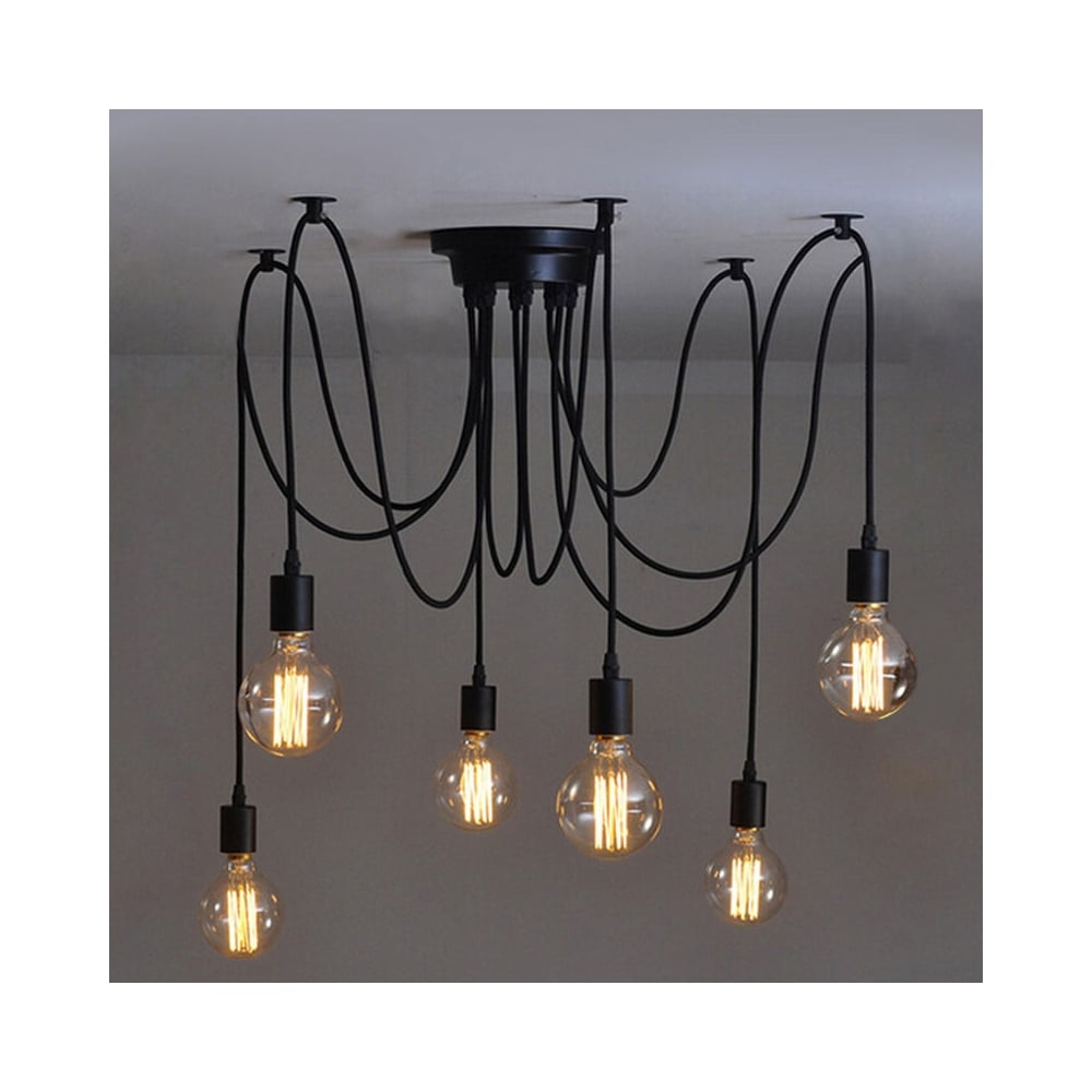 Al 6sp 6 light suspension spider pendant ceiling light in black finish