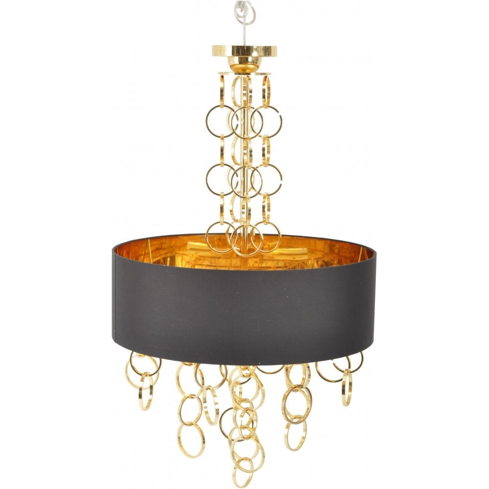 Libra link ceiling pendant light black and electroplated gold libra 367215 links gold chandelier with black and gold shade mozeypictures Image collections