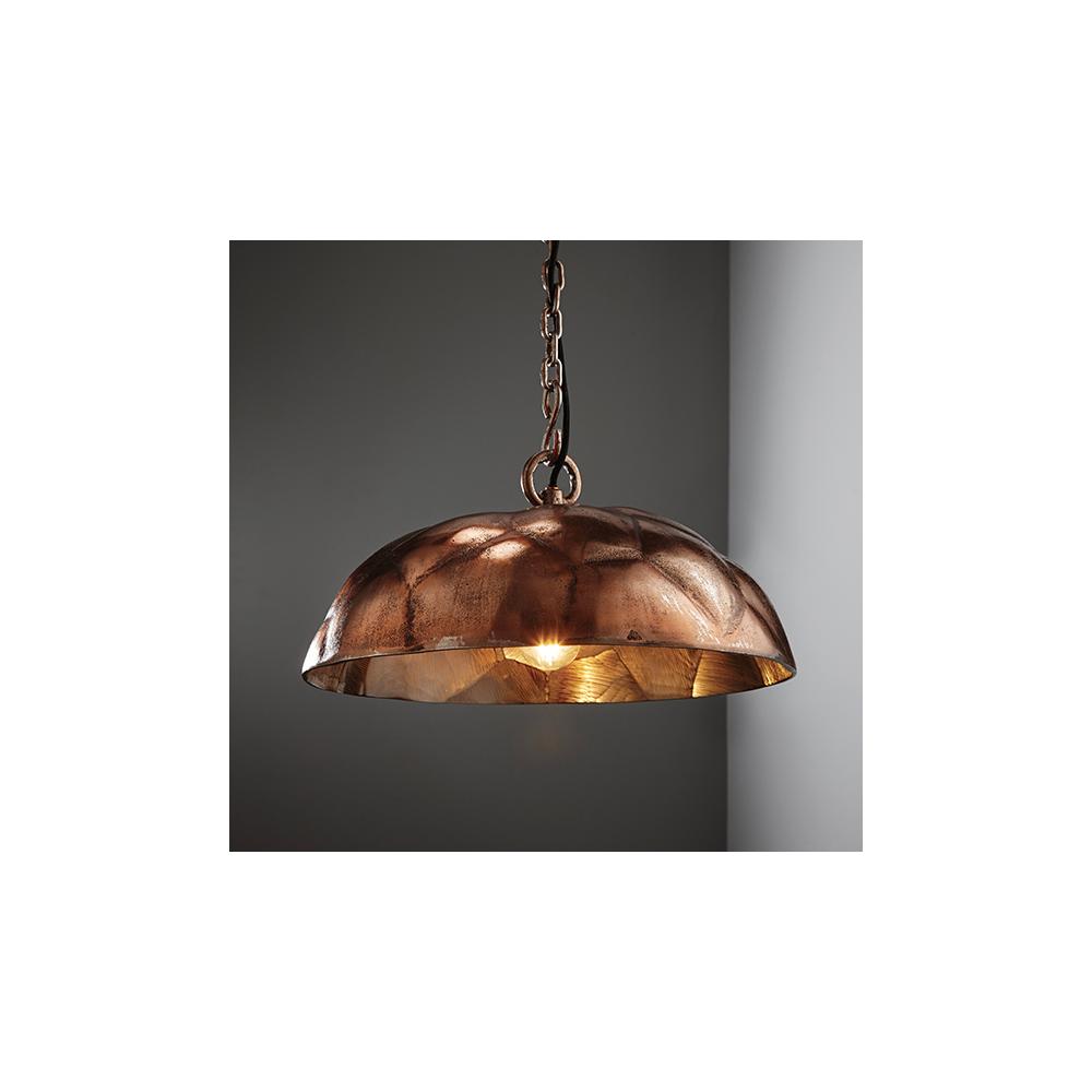 Endon Elmore 73078 1 Light Ceiling Pendant Antique Copper