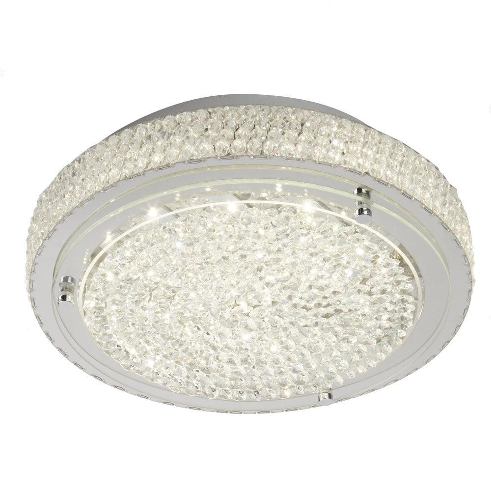 Searchlight 2713cc led flush ceiling light polished chrome crystal