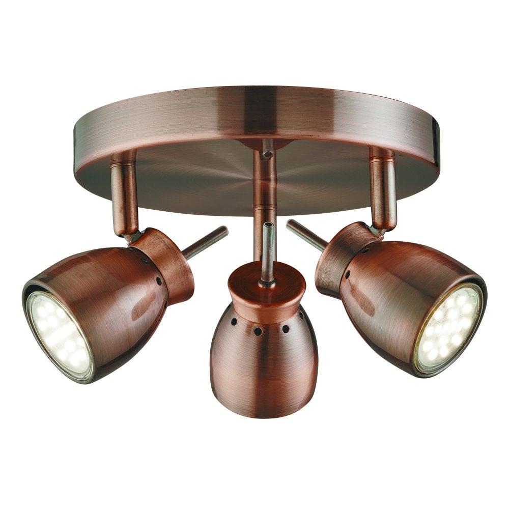 Searchlight 8813cu jupiter 3 light ceiling spotlight copper