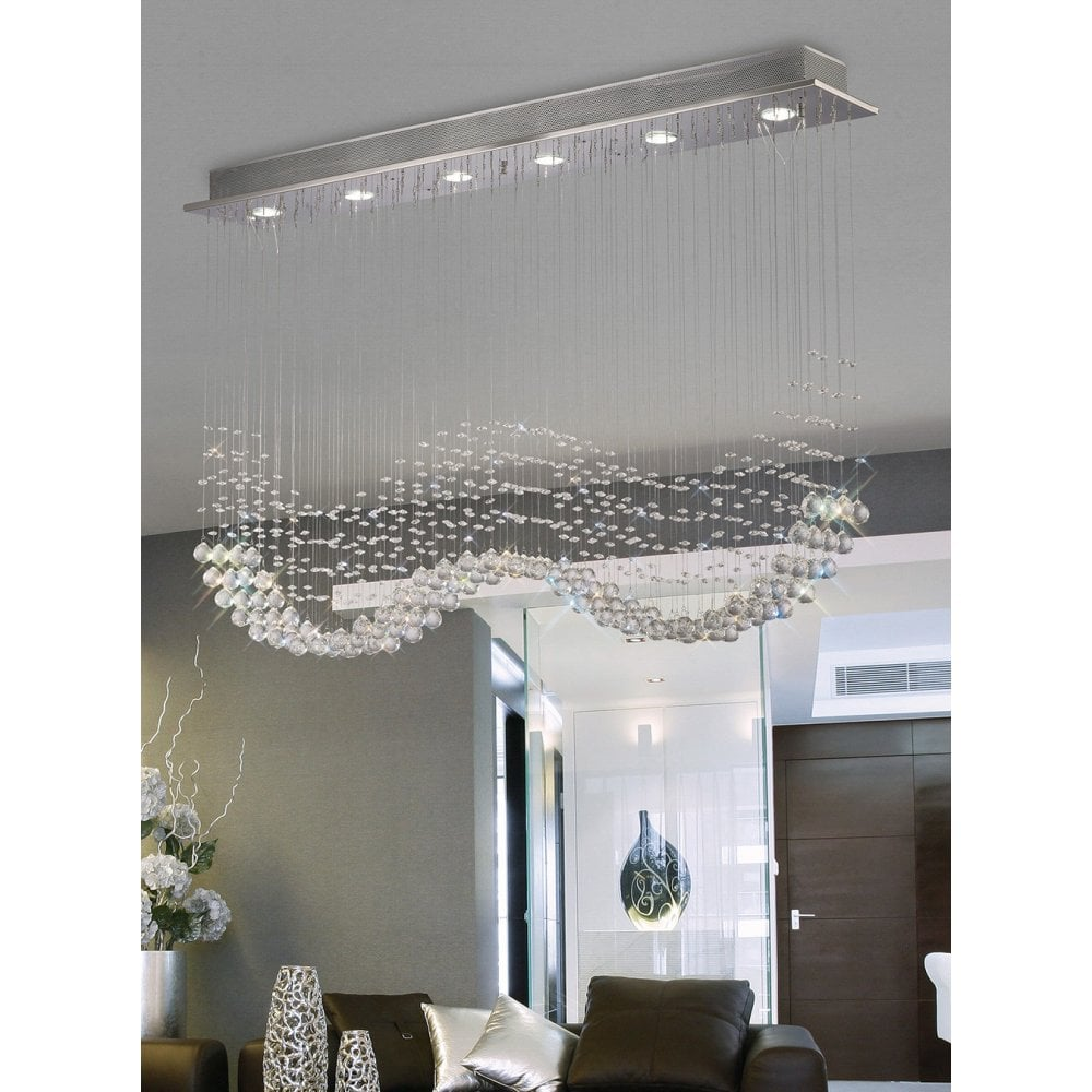 1e5eb78cdb IL31380 Colorado 6 Light Crystal Linear Ceiling Pendant Polished Chrome