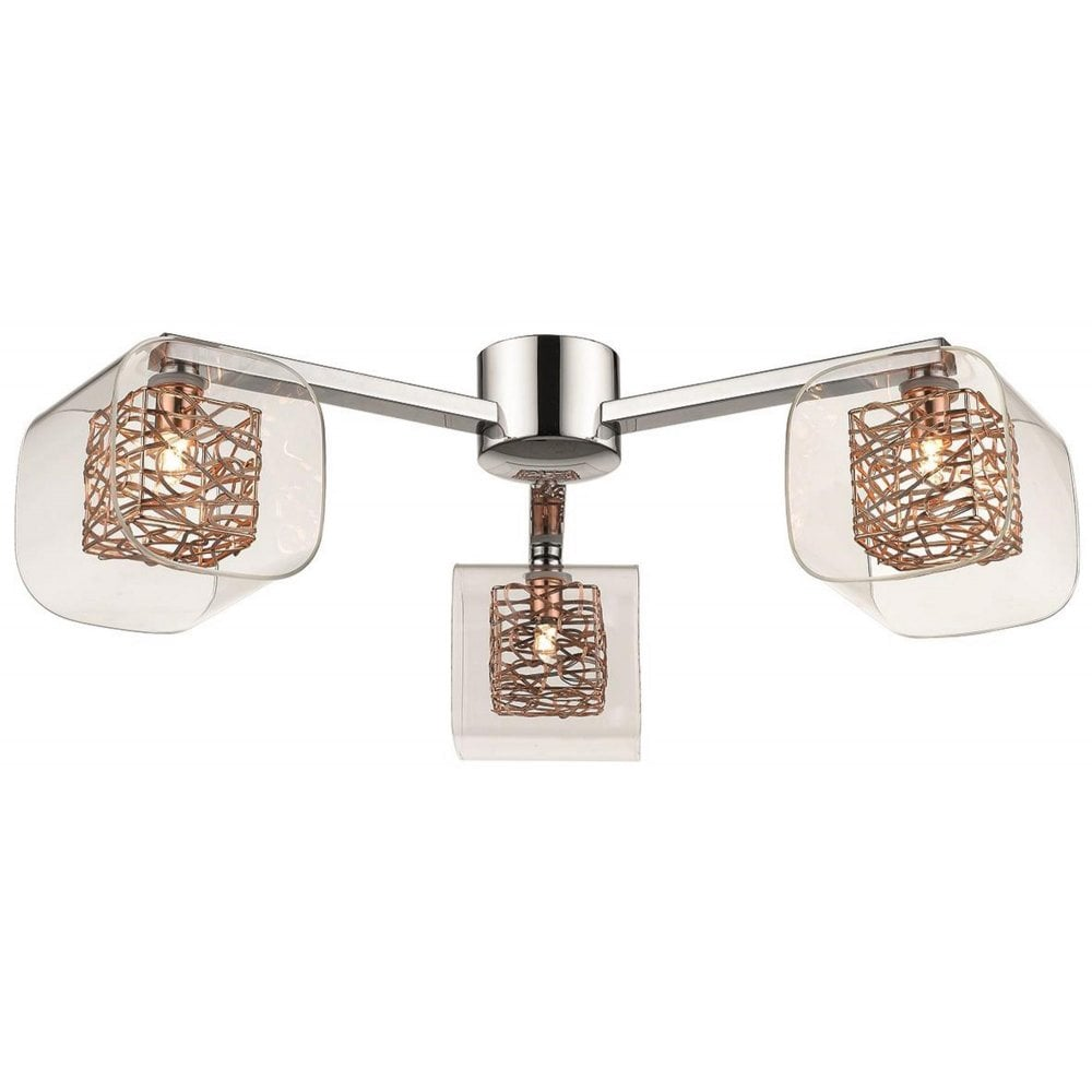 low priced 89577 b774b 058CP3FLUS 3 Light Flush Ceiling Light Polished Chrome and Copper