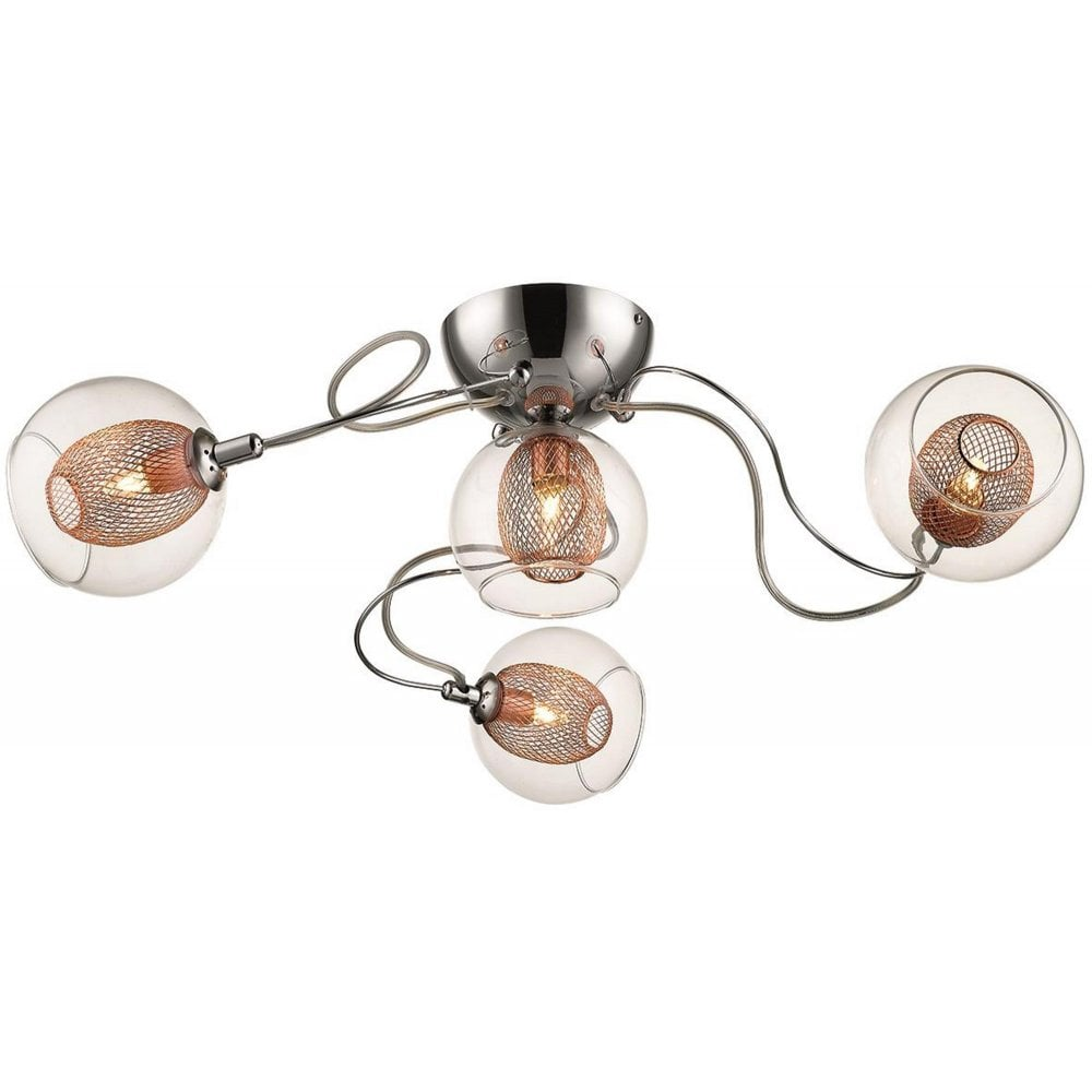 low priced 24dfd 2583a Sorrento 063CP4FLUS 4 Light Flush Ceiling Light Polished Chrome and Copper