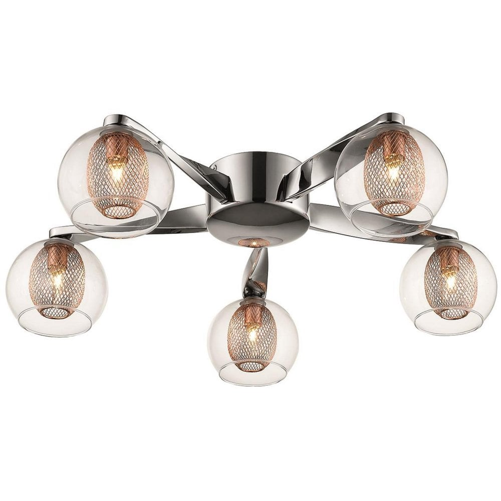 promo code f4478 63ee0 057CP5FLUS 5 Light Flush Ceiling Light Polished Chrome and Copper